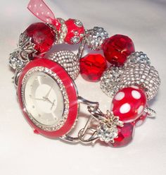 Red and Silver Beaded Watch Band and Red Face  by BeadsnTime, $30.00