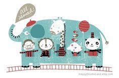 Elephant Train ~ HappyDoodleLand ~ Etsy x