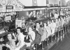 mothgirlwings:  Lunch counter at Woolworth's in Raleigh, North Carolina - c. 1930s/1940s