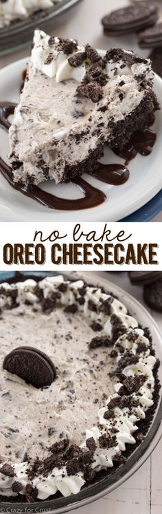 This No Bake Oreo Cheesecake is easy, fast, foolproof and filled with Oreos! It's the perfect summer recipe! ~ Crazy for Crust This No Bake Oreo Cheesecake is easy, fast, foolproof and filled with Oreos! It's the perfect summer recipe! ~ Crazy for Crust Yummy Treats, Delicious Desserts, Yummy Food, Oreo Desserts, Healthy Desserts, Sweet Treats, Pudding Desserts, Party Desserts, Holiday Desserts