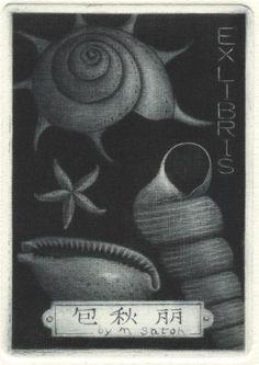 ≡ Bookplate Estate ≡ vintage ex libris labels︱artful book plates - seashells