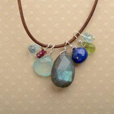 gemstone leather necklace labradorite pendant necklace by izuly, $89.00