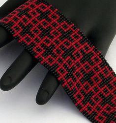 Beaded Bracelet, Little Paths, Matte Red on Black