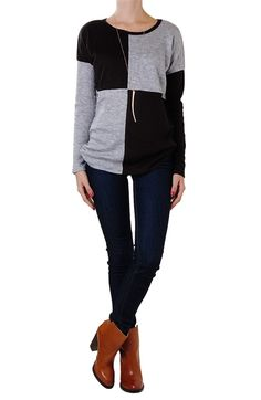 Long Sleeve Color Block Knit