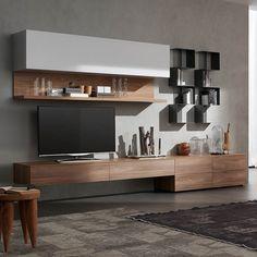 Modern Italian TV media unit 'Wood 3' by Santa Lucia