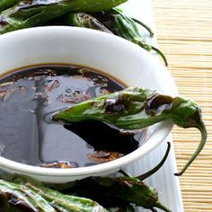 Savoury Table: How to Make the Most of an Unpleasant Task: Blistered Shishito Peppers With Spicy Garlic Soy Dipping Sauce