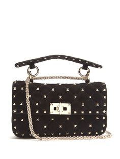 VALENTINO Rockstud-Embellished Quilted-Suede Cross-Body Bag. #valentino #bags #shoulder bags #clutch #lining #suede #hand bags #