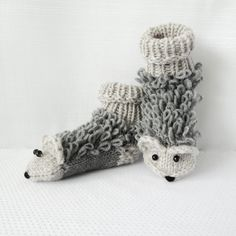 Knit Hedgehog Sock Slippers Kid Knits: Spring Woolies Hand Knit Apparel and Accessories for Kids on the Handmade Childhoods: The Blog by Fleur + Dot Knitwear knitting Handknit