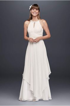 You will look breathtaking in this timeless and chic casual wedding dress! Empire bodice features ultra-feminine lace cap sleeves and eye-catching open back detail. Sheer matte mesh d