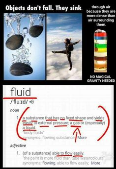 All subjects or fluids fall or rise to meet its level of density.