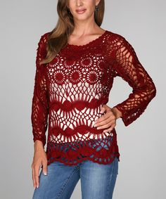 Ananda's Collection Burgundy Crocheted Boatneck Top