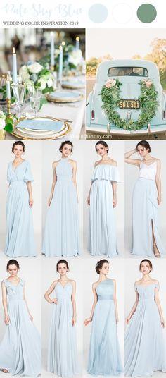pale sky blue wedding color ideas 2019 with bridesmaid dresses #wedding #weddinginspiration #bridesmaids #bridesmaiddress #bridalparty #maidofhonor #weddingideas #weddingcolors #tulleandchantilly