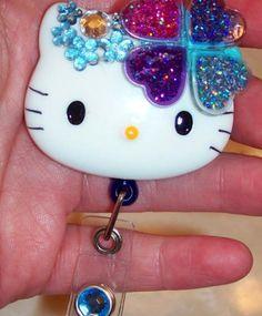 Hello Kitty Such A Sparkly Heart Id Badge Reel Holder | evezbeadz - Accessories on ArtFire