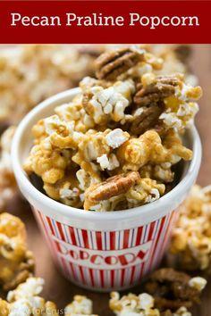 You guys. This popcorn. O-M-Eat the whole bowl. It's Pecan Praline Popcorn and it's ah-maz-ing. Popcorn Snacks, Flavored Popcorn, Gourmet Popcorn, Popcorn Recipes, Snack Recipes, Dessert Recipes, Desserts, Popcorn Balls, Popcorn Tree