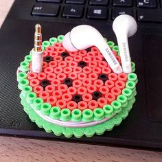 Watermelon earbud holder hama beads by worldofdiy