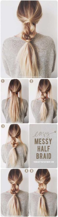 Hairstyles for medium length hair step by step popular haircuts 43 ideas for - beliebte Frauenfrisuren - Pretty Hairstyles For School, Cute Messy Hairstyles, Easy Hairstyles For School, Teenage Hairstyles, Casual Hairstyles, Headband Hairstyles, Girl Hairstyles, Goddess Hairstyles, Heatless Hairstyles