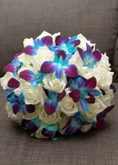 Kissing balls with blue orchids and white roses