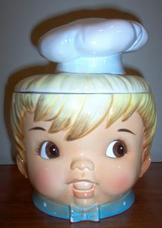 """Boy Chef Cookie Jar.....Doranne of California  Produced cookie jars from 1951 till 1992.  Their cookie jars are marked with the model number preceded with """"J"""" or """"CJ"""" and USA."""