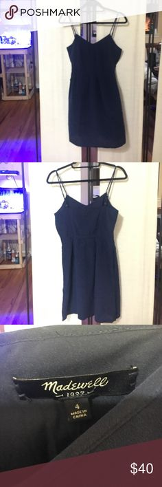 NWOT Madewell Solid Silk Camisole Dress 100% Silk Dress with lining. Color is navy. Sooo soft, and has pockets!!!!! Remember to remove security tag before wearing. Madewell Dresses Mini