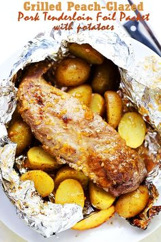 Grilled Peach-Glazed Pork Tenderloin Foil Packet with Potatoes -This easy to make meat and potatoes dinner is impressive, delicious, and cleanup is a snap!