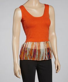 Take a look at this Orange & Coral Abstract Flounce Tank by Subtle Luxury on #zulily today!