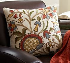 Would love these as something new for the couch.  1 of these &.......Multi Crewel Embroidered Pillow Covers | Pottery Barn