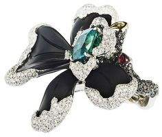 Chara Wen Flower (orchid) Ring Enamel with White and Black Diamonds and a Fab Emerald *i need more info* ♥♥