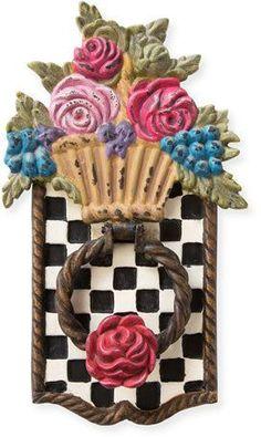 Pretty MacKenzie-Childs Flower Basket Door Knocker home #decor accent