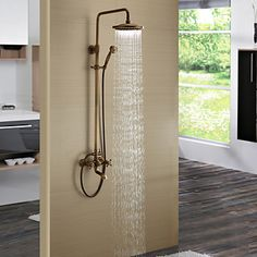 Antique Brass Tub Shower Faucet with 8 inch Shower Head + Hand Shower – USD $ 219.99