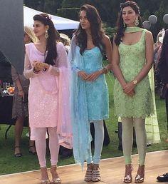 Housefull 3 Girls In Traditional Look! You Loved It! Salwar Designs, Kurta Designs Women, Kurti Designs Party Wear, Blouse Designs, Indian Wedding Outfits, Pakistani Outfits, Indian Outfits, Indian Weddings, Wedding Dresses