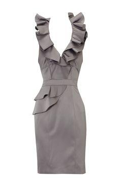 Grey Ruffled Halter Top Bridesmaids Dress