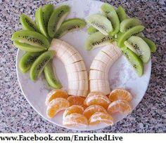 Palm Tree Fruit Display--Pretty to serve at the beach.