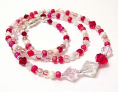 Strawberry Sundae Casual Chic Seed Bead and Crystal 18 Inch Necklace