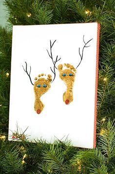 Reindeer feet cute craft for little ones..@O.B. Wellness Mike you and @Jenn L Milsaps L Moore Kramer Mahand Ford should do these with your tiny feeted people!