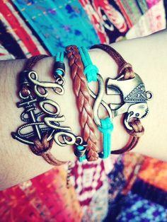Boho Bracelet Love Infinity Anchor Elephant by ForTheWristAndSoul, $10.99