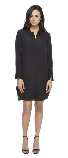 Halston Heritage Long Sleeve Shirtdress w/ Wide Cuff (Black) Women's Dress - Halston Heritage, Long Sleeve Shirtdress w/ Wide Cuff, KDI052064-001, Apparel Top Dress, Dress, Top, Apparel, Clothes Clothing, Gift, - Street Fashion And Style Ideas