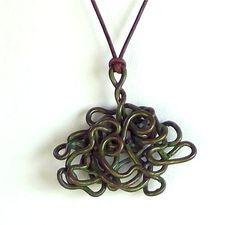 Chaos Theory Wire Necklace Pendant Copper by FairyUniqueJewelry, $34.99