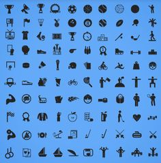 Sports Icon Set (100 Icons in AI, EPS, PNG and PDF Formats)