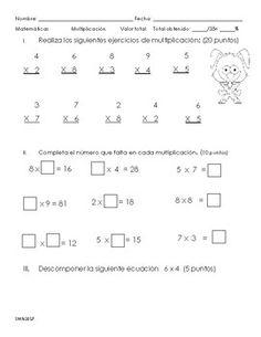 Valor de 35 puntosI.Realiza los siguientes ejercicios de multiplicacin: (20 puntos)II.Completa el nmero que falta en cada multiplicacin. (10 puntos)III.Descomponer la siguiente ecuacin   6 x 4  (5 puntos)