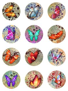 Butterflies Floral Deco Grunge Paper Digital by pixeltwister Bottle Cap Art, Bottle Cap Crafts, Bottle Cap Images, Carta Collage, Collage Sheet, Art Nouveau Design, Grafik Design, Digital Collage, Glass Pendants
