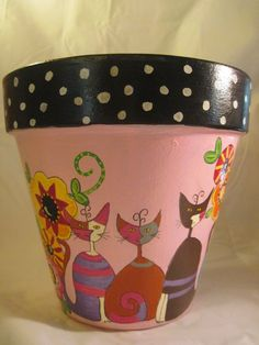 hand painted flower pot cats: