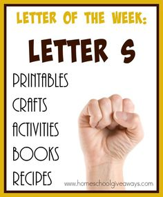 "There are so many resources out there it can be overwhelming. Check out these 100+ resources for teaching the letter ""S"". Including {free} printables, crafts, books, recipes & MORE! :: www.homeschoolgiveaways.com"