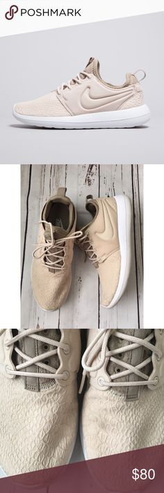 Nike Women's Roshe II Sneaker in Oatmeal size 8 Nike Women's Roshe II in a beautiful neutral oatmeal color! These are super comfy and I'm very good preowned condition! Slight signs of wear (see photos)   Size 8. Nike Shoes Sneakers
