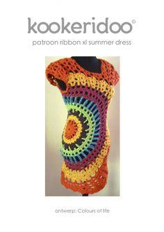 Crochet pattern summer dress Ribbon XL zpagetti. Kookeridoo by echtstudio