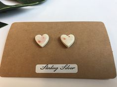 A personal favourite from my Etsy shop https://www.etsy.com/uk/listing/511400201/heart-cream-stud-earrings-with-pink