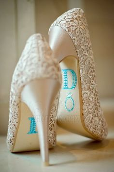 LOVE these lace shoes with the blue I Do on the soles