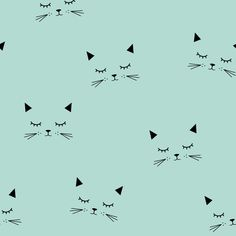 Cats - Mint fabric by kimsa on Spoonflower - custom fabric