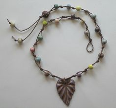 Polymer clay leaf with ceramic beads by Gaea