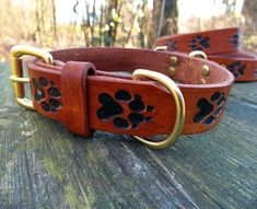 Leather Dog Collar - small to medium size, embossed wolf prints