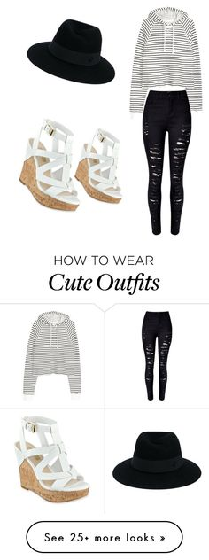 """""""Cute/spring outfit"""" by meghanismyname on Polyvore featuring WithChic, GUESS and Maison Michel"""